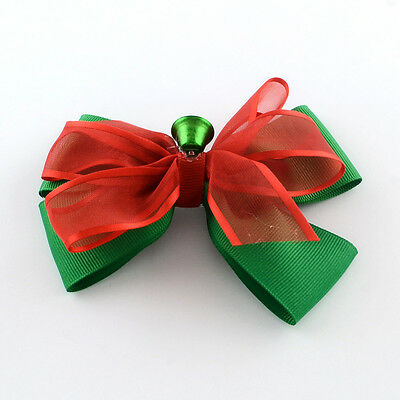 Christmas Grosgrain Bowknot Alligator Hair Clips with Clips Platinum 90x120mm