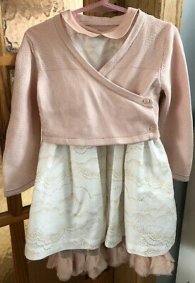 Marks And Spencer Girls Cream Autograph Dress And Pink Cardigan 12-18 Months