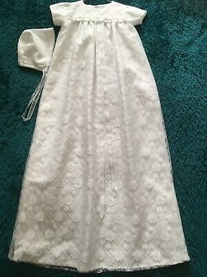 Long White Christening Robe suit 3/6 months with matching bonnet.