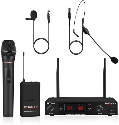 Wireless Microphone System, Phenyx Pro VHF Cordless Mic Set With 1 Handheld+1