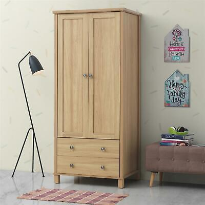 Sherwell 2 Door 2 Drawer Double Wardrobe Oak Bedroom Furniture