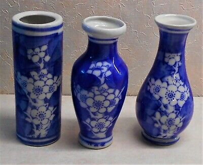 3 Old Antique Chinese Blue & White Porcelain Small Vases