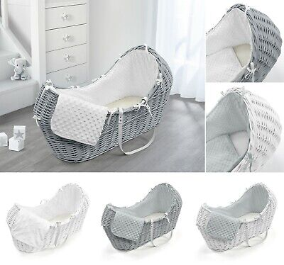 Luxury Grey White Wicker Moses Basket Pod Fully Dressed Dimple Stars White Grey