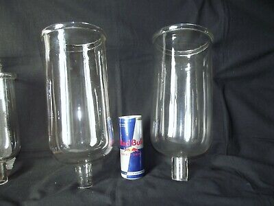 Huge Pair Antique French Hand Blown Candle Holders Glasses XXL Photophores-Lamps