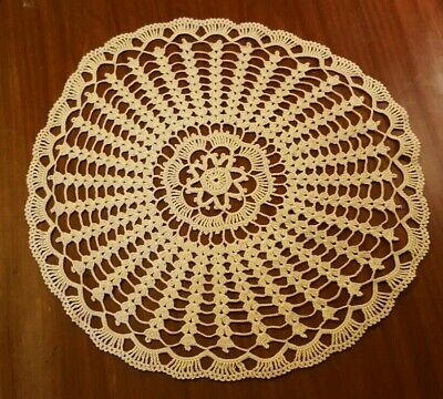 "Vintage Handmade Crochet 19"" Round Ecru Doily,  Beautiful And Perfect"