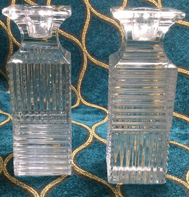 Pair Of Val St. Lambert Laslo Metropolis CRYSTAL 5 1/4 Tall Candlestick Holders
