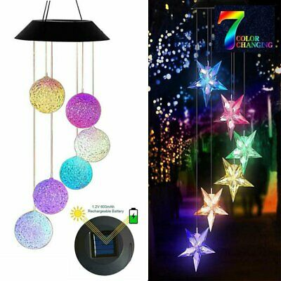 Solar Color Changing LED Wind Chimes Home Garden Yard Hanging Decor Light Lamp