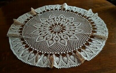 "35"" Vintage Round Handmade Beautiful Doily In Ecru Could Starch Edge To Stand Up"