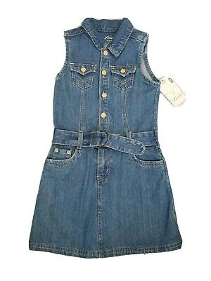 New Levi's Girl's Vintage Wash Denim Dress size 6X Belted 1/2 Snap Button Front