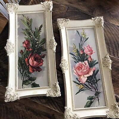 VINTAGE MID CENTURY Turner Print Framed pink red rose 2 pictures Shabby Cottage