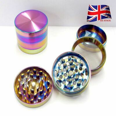 Gradient Shiny Rainbow Alloy Tobacco Metal Grinder 4 Part 40mm 50mm 55mm UK