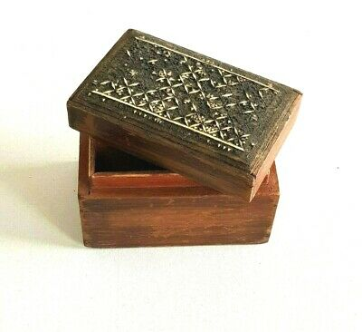 """Vintage Arabic Wooden Box Decorated Trinket Devided Old Collectibles Decore 5"""""""