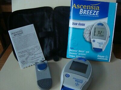 Bayer Ascensia BREEZE Blood Glucose Monitoring Systm Microlet Storage Case Guide