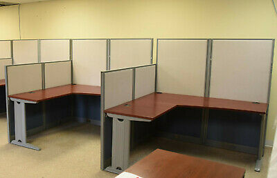13 Used Bush Business Furniture L-Shaped Office Cubicles - Nice Condition