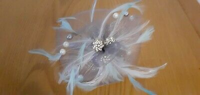 Fascinator Grey, Blue And White With Pearls And Diamante.