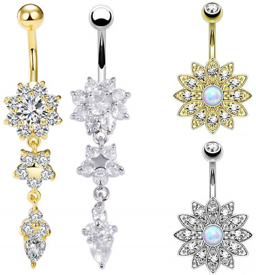 EQLEF Belly Bars Surgical Steel, Drop Belly Button Ring Flower Navel Piercing of