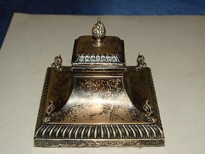 Antique LARGE STERLING SILVER INKWELL WITH HINGED TOP HALLMARKED ESTATE FIND
