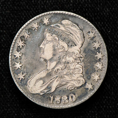 1830 50c CAPPED BUST HALF DOLLAR, VF COIN LOT#T784