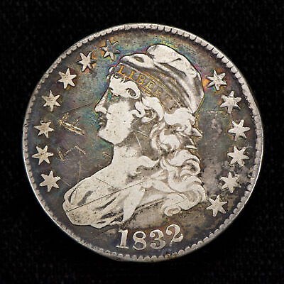 1832 50c CAPPED BUST HALF DOLLAR, NEAT COLOR! FINE/VF DETAILS LOT#T785