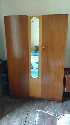 Vintage 1960s Modern 2 Door wardrobe with mirror and key