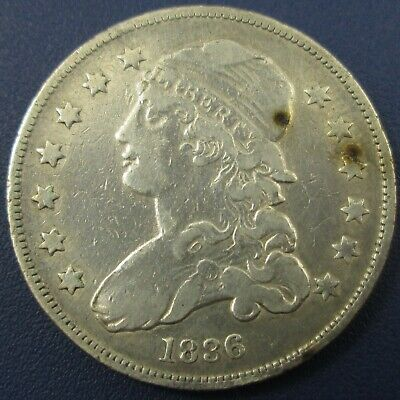 1836 Capped Bust Silver Quarter 25C - VF Details (Cleaned)