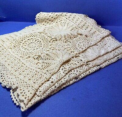 Set of 4 Dining Table Placemats Cotton Rectangle Crochet Lace Doily Mats 12 x 18