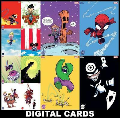 Topps Marvel Collect SKOTTIE YOUNG Series 2 [12 CARD SET] Hulk/Spider-Man/Groot+