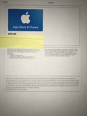 Apple App Store & iTunes $50 Electronic Gift Card