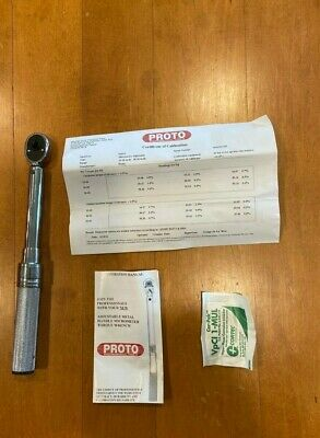 """Proto 1/4"""" Drive Ratcheting Head Micrometer Torque Wrench 10-50 In-Lbs"""