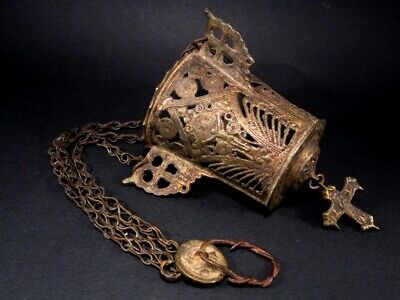 POST MEDIEVAL GENUINE TRIPLE CHAINED ORTHODOX BRONZE CENSER w/ CROSS+++