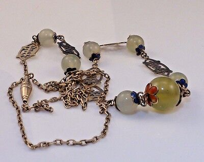 Estate Chinese Export Sterling Enamal Jade Necklace. long