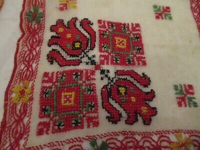 2 Antique 1900's Hand Embroidery drawn work, cross stitch hankies. all hand done