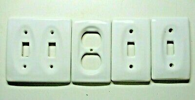 Lot 4 Ceramic Porcelain Concave White Outlet Switch 2 Gang Cover Plates Vintage