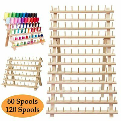 120 Sewing Thread Spool Rack Embroidery Cone Holder Organizer Wooden Folded USA