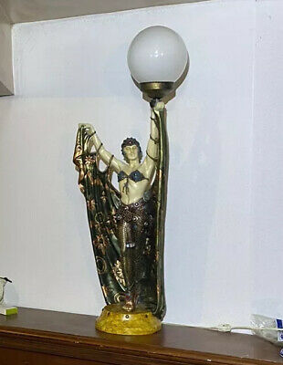 Antique Art Deco Art Pottery Figural Lady Belly Dancer Table Lamp