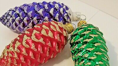 """3 Lg Glass Christmas Pine Cones Ornaments Red Green Purple with Glitter 4-1/2"""""""