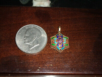 Estate Antique Chinese Export Sterling Silver Enamel Floral Hexagon Pendant