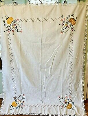 """Vintage Embroidered Floral Boquet Handmade Linen Tablecloth 68""""x50"""""""