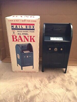 Vintage USPS Post Office Coin Bank Metal Mail Box + Keys