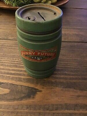 Vintage Sunny Day Wooden Barrel Advertising Bank New York Brodhaven Mfg Co