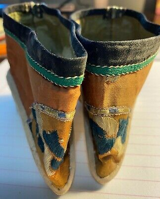 Original Antique Chinese Embroidered Lotus Shoes Foot Binding