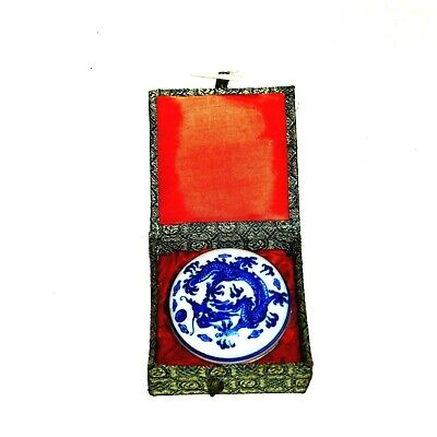 Chinese Blue & White Porcelain Scholar Ink Box Dragon Phoenix Antique
