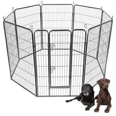 "24""/32""/40"" 8 Panel Metal Pet Puppy Dog Kennel Fence Playpen"