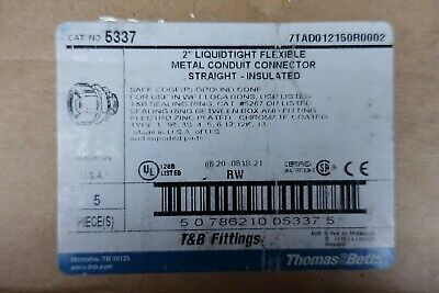 "(5) Thomas & Betts 5337 2"" Liquidtight Flexible Metal Conduit Straight Insulated"