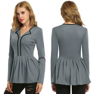 New Fashion Women Long Sleeve Casual and Career Lapel Neck Peplum Blouse DKVP