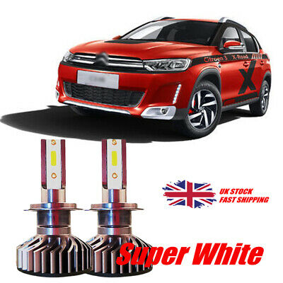 H7 COB LED Headlight Bulbs Pair For CITROEN C3 2002 -on PURE WHITE 6000K