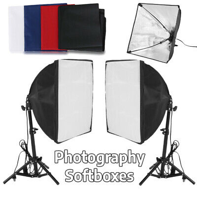 Studio Photography 2 Softboxes Continuous Photo Lighting Kit 2 in 1 Carry Bag MX
