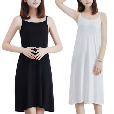 Plus Size Summer Women Solid Color Loose Sleeveless Camisole Underdress Filmy