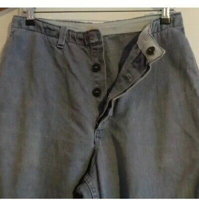 "Vintage Antique French sun faded cotton work hobo trousers chore pants 30"" S"