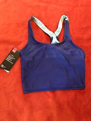 Under Armour Girls Athletic Racer Back Top Size 10 Shelf Bra Blue NWT Fitted